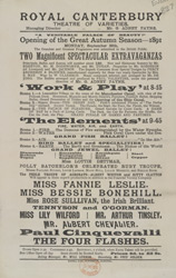 Poster for the opening of the autumn season at the Royal Canterbury Theatre of Varieties in 1891